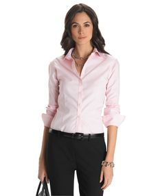 Non-Iron Fitted Dress ShirtPink