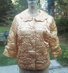 Vintage mid century Rhapsody by Glazer gold satin quilted bed jacket large by GinaCatalinaVintage on Etsy