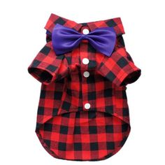 Handsome Casual Dog Plaid Shirt Gentle Dog Western Shirt Cozy Dog Clothes for Pet Shirt + Bow Free Shipping,L - http://www.thepuppy.org/handsome-casual-dog-plaid-shirt-gentle-dog-western-shirt-cozy-dog-clothes-for-pet-shirt-bow-free-shippingl/