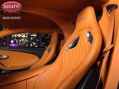 Bugatti Chiron interior black and light brown, tan, camel, almost orange