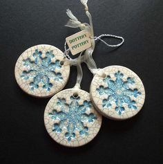 Blue crackle snowflake ceramic Christmas by dotterypottery on Etsy, £7.00