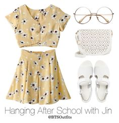 """""""Hanging After School with Jin"""" by btsoutfits ❤ liked on Polyvore featuring Sol Sana and Under One Sky"""