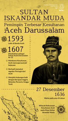 Kesultanan Aceh Darussalam mencapai puncak kejayaan di bawah kepemimpinan Sultan Iskandar Muda dari 1607 hingga 1636. Make Money Photography, Public Knowledge, Medical Mnemonics, Study Motivation, Historical Pictures, Borneo, History Facts, Science Experiments, Biography