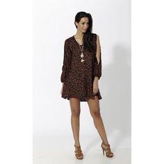 Vestido corto estampado con abertura len mangas Negro - Mauna Barcelona - fashion - moda