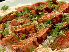 Get Sake Salmon and Rice Recipe from Food Network