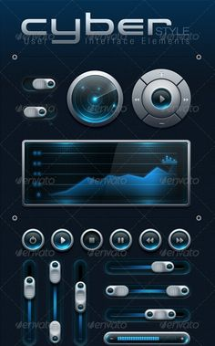 CYBER Style User Interface Elements