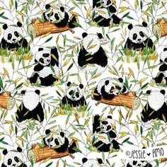 Hidden Pandas | Pattern 50 /100  #the100dayproject  #100patternsByJessieamo - - And lastly, the pattern! Hope you enjoyed seeing the whole process. I'm halfway there with the project... can't believe I've done 50 by now!  Have a lovely evening my friends. - -  #artbyjessieamo #pandas #nature  #100daysproject #IFDraw100Days #makeartthatsells