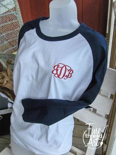 Monogram Baseball Tee TShirt Raglan Sleeve Shirt by finethreadart, $19.50