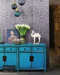 Love this combination. Zebra Wallpaper, Animal Print Wallpaper, Wall Wallpaper, Osborne And Little, Home Decoracion, Blue Cabinets, Cupboards, Interior Desing, Chinese Furniture
