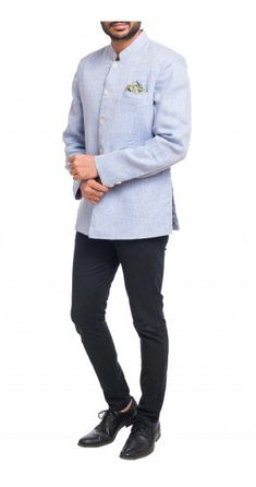 Textured Blue Linen Bandhgala - Summer Wedding Fashion for Men Nehru Jacket For Men, Nehru Jackets, Wedding Store, Wedding Men, Mens Ethnic Wear, Mother Of Pearl Buttons, Shop Now, Menswear, Blazer