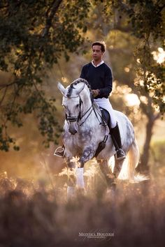Handsome young man on dashing horse.