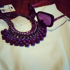 In Stock Pur & Pearly Statement Necklace Mona Shades www.bfoxy.com