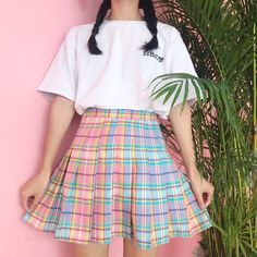 5bfac962b6b13 ... Quality skirts for girls directly from China women skirt Suppliers   Harajuku women skirts cute gradient color lattice pleated skirt for girls  One Size