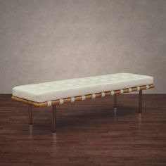 Add seating to a bedroom or extra seating in a living space with this modern freestanding leather bench with Italian embossing. The frame is made from solid birch wood with the top being soft leather. Comfort and functionality are achieved in one piece.