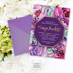 Purple Floral Bridal Shower Invitation - Faux Gold Foil Classy Purple Burgundy Flowers Fall Bridal Shower Calligraphy Invite Printable