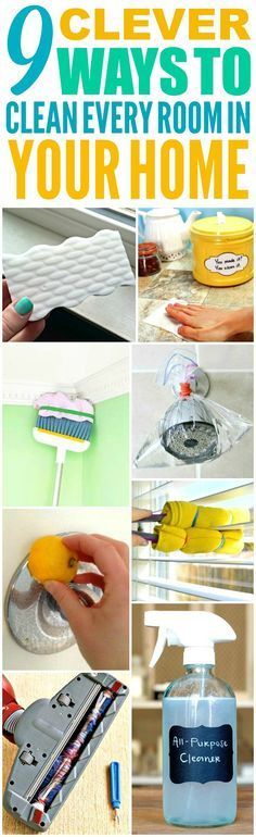 These 9 genius ways to clean every room in the home fast are THE BEST! I'm so glad I found these AWESOME tips! Now I have great cleaning hacks for my house! Definitely pinning!