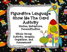 Figurative Language Show Me the Card Activity. Great for a fun test prep or to simply review similes, metaphors, and personification.  Assessment included. $