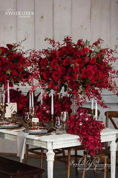 ideas for wedding table red roses floral arrangements Red Wedding Flowers, Red Flowers, Floral Wedding, Red Roses, Autumn Flowers, Red Orchids, Red Bouquet Wedding, Tall Flowers, White Roses