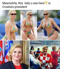 A set of images purportedly showing Croatian President Kolinda Grabar-Kitarović in a bikini actually show model Coco Austin.