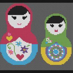 Matryoshka Nesting Dolls Counted Cross Stitch Pattern | CinnamonWoodsCrafts - Needlecraft on ArtFire