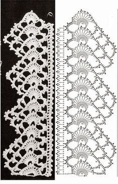 Crochet lace edging with pointThis post was discovered by Latife. Discover (and save!) your own Posts on Unirazi. Crochet Edging Patterns, Crochet Lace Edging, Crochet Borders, Crochet Diagram, Crochet Chart, Thread Crochet, Crochet Trim, Irish Crochet, Crochet Designs