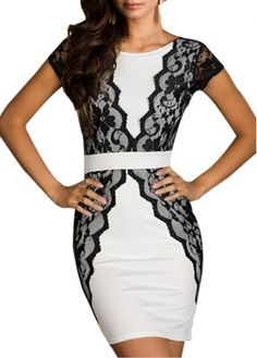 Fine Quality Lace Patchwork Mini Dress for Lady