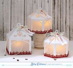Tea Light Luminary Ornaments by Betsy Veldman for Papertrey Ink (September 2015)