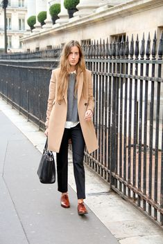 white oxford shirt, gray cashmere sweater, camel coat, charcoal slacks, brown leather oxfords, black tote