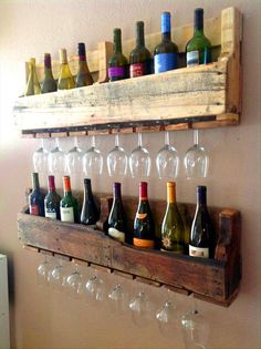 Skill saw the pallets so you don't have to take out any if the impossible to remove nails. Wine rack, voila!