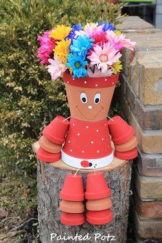 Ladybug flower pot person clay painted pot planter por PaintedPotz