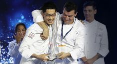 The winner of S.Pellegrino Young Chef 2018 Yasuhiro Fujio celebrating with his Mentor Luca Fantin.