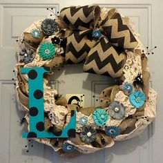 Vintage contemporary wreath with burlap and lace. One of my favorites!