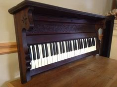 Keyboard Shelf from antique pump organ (circa 1896). Primitive upcycled repurposed furniture.