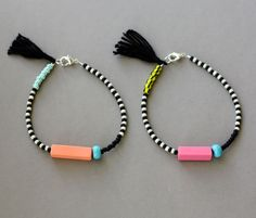 Bracelet with Tassel - Black and White Bracelet - Beaded Layering Bracelet - Friendship Bracelet - Pink, Melon. $17.00, via Etsy.