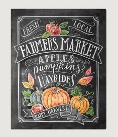 Fall Art - Farmer's Market - Fall Decor - Fall Print - Pumpkin Art - Fall Farmer's Market - Fall Print - Chalkboard Illustration - Chalk Art - Welcome! Chalkboard Lettering, Chalkboard Designs, Fall Chalkboard Art, Chalkboard Drawings, Chalkboard Paint, Chalkboard Ideas, Halloween Chalkboard, Blackboard Art, Chalkboard Printable