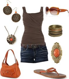 """""""orange and brown summer outfit"""" by kaybraden ❤ liked on Polyvore"""