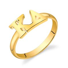 Gold Vermeil Kappa Delta Letter Ring by GreekGirlShop on Etsy, $33.00
