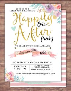 Happily Ever After Invitation BOHO Wedding Shower By LyonsPrints