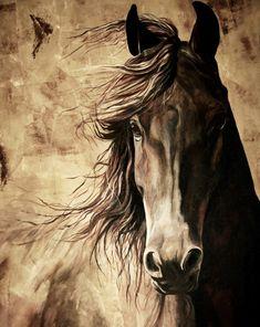 giclée de cheval avec une crinière qui coule de la peinture acrylique orginal, cheval warmblood d'équine décoration impression couleurs brun naturel