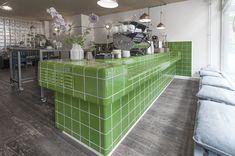 green dtile tiles at babo coffee arnhem bar tiles roundedtiles https