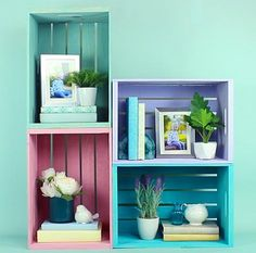 Pastel Vintage Effect Storage Crates -- Display photos, plants, books and more  in these Vintage Effect crates  #decoartprojects