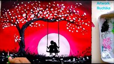 Swing Under The MoonLight Painting Swing Painting, Shadow Painting, Couple Painting, Love Painting, Oil Pastel Drawings Easy, Oil Pastel Art, Scenery Paintings, Romantic Paintings, Valentines Day Drawing