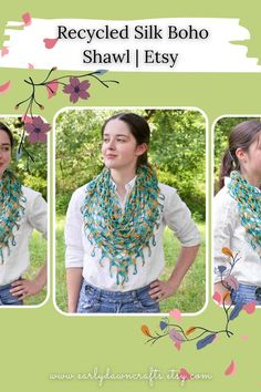 This teal and gold triangle shawl was carefully crocheted by hand! It is casual enough for everyday and dressy enough for a party or festival! Made with recycled sari silk remnants, this shawl scarf is lightweight for comfortable summer wear. It features a lacy, stitch pattern and neat fringed edge. You can wear this shawl with everything you like, in every season! This wrap is so versatile it can be worn many different ways! Crochet Triangle, Kerchief, Teal And Gold, Sari Silk, Lace Knitting, Shawls And Wraps, Summer Wear, Stitch Patterns, Boho