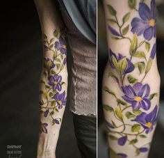 Sprawling floral piece on forearm by Andrey Lukovnikov