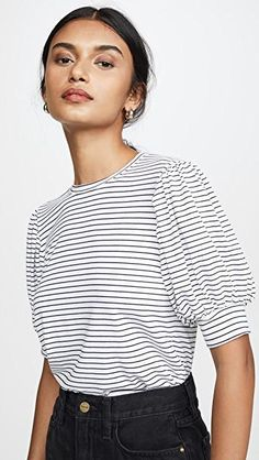 Looking for FRAME Balloon Sleeve Tee ? Check out our picks for the FRAME Balloon Sleeve Tee from the popular stores - all in one. Estilo Fashion, S Models, Striped Tee, Fashion 2020, Casual Outfits, Spring, Women Wear, Tees, Womens Fashion