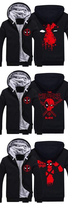 Movie Deadpool Wade Winston Wilson Superhero Hoodies Mens Zip up Thick Black Super Warm Fleece Polyester Sweatshirts Coats