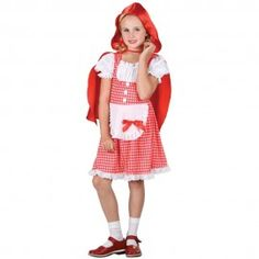 The fantastic costume includes a red and white gingham dress, an attached white apron decorated in fantastic lace detailing and completing the costume is the all important hooded red cape  www.myfancydress.ie