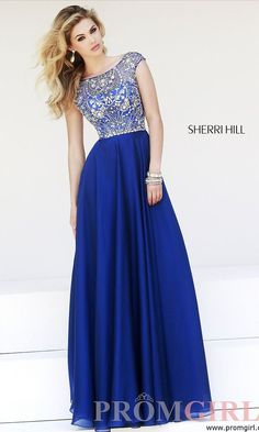 Floor Length Cap Sleeve Dress by Sherri Hill