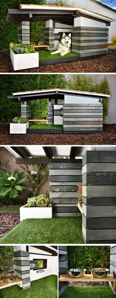 This modern dog house named Woof Ranch, features a deck covered in artificial turf as well as a small window in the interior of the house to create the indoor/outdoor experience often associated with mid century modern houses.