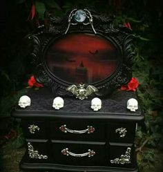 Outstanding Gothic jewellery box by Curiology. We've been making custom boxes for 5 years… … The post Gothic jewellery box by Curiology. We've been making custom boxes for 5 year… appeared first on Decor For Home . Gothic Furniture, Painted Furniture, Furniture Design, Gothic Interior, Jewelry Box Makeover, Gothic Bedroom, Haunted Dollhouse, Goth Home Decor, Jewellery Boxes